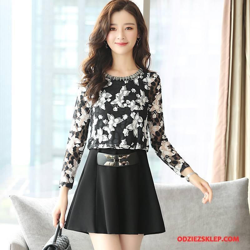 Damskie Sukienka Eleganckie Casual Kwiaty 2018 Długi Rękaw Moda Czarny Na Sprzedaż