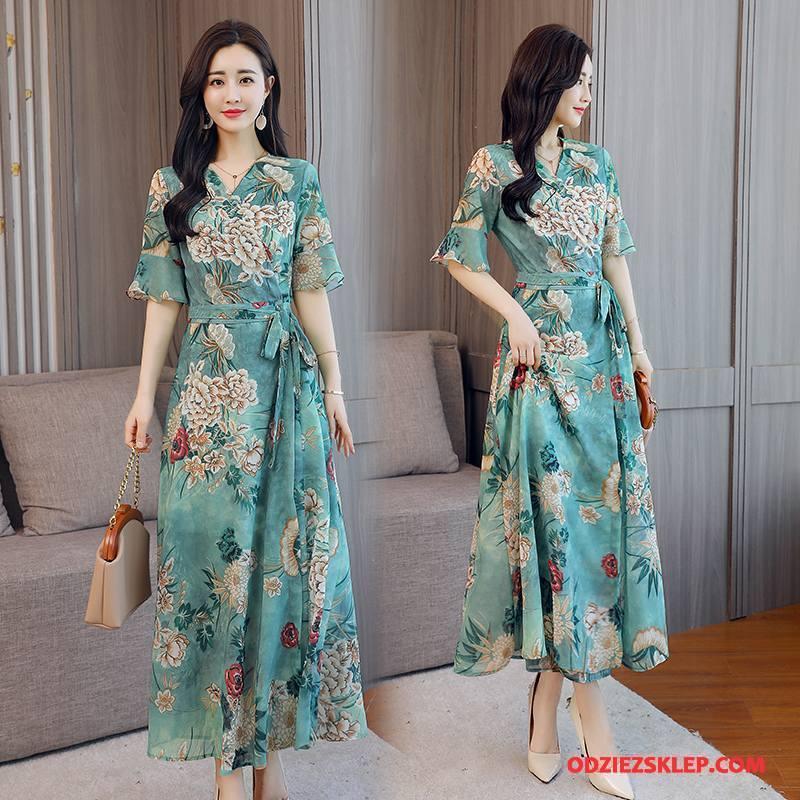 Damskie Sukienka Eleganckie Wysoki Stan Casual Lato Kwiaty Moda Zielony Tanie
