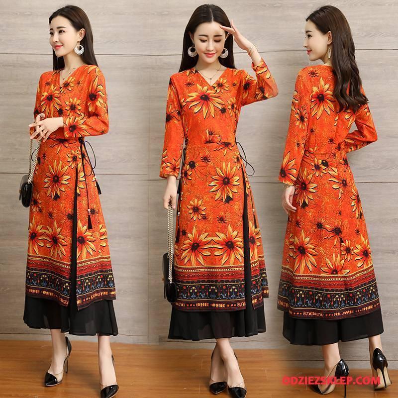 Damskie Sukienka Kwiaty Slim Fit Długie Tendencja Eleganckie Cienkie Oranż Kup