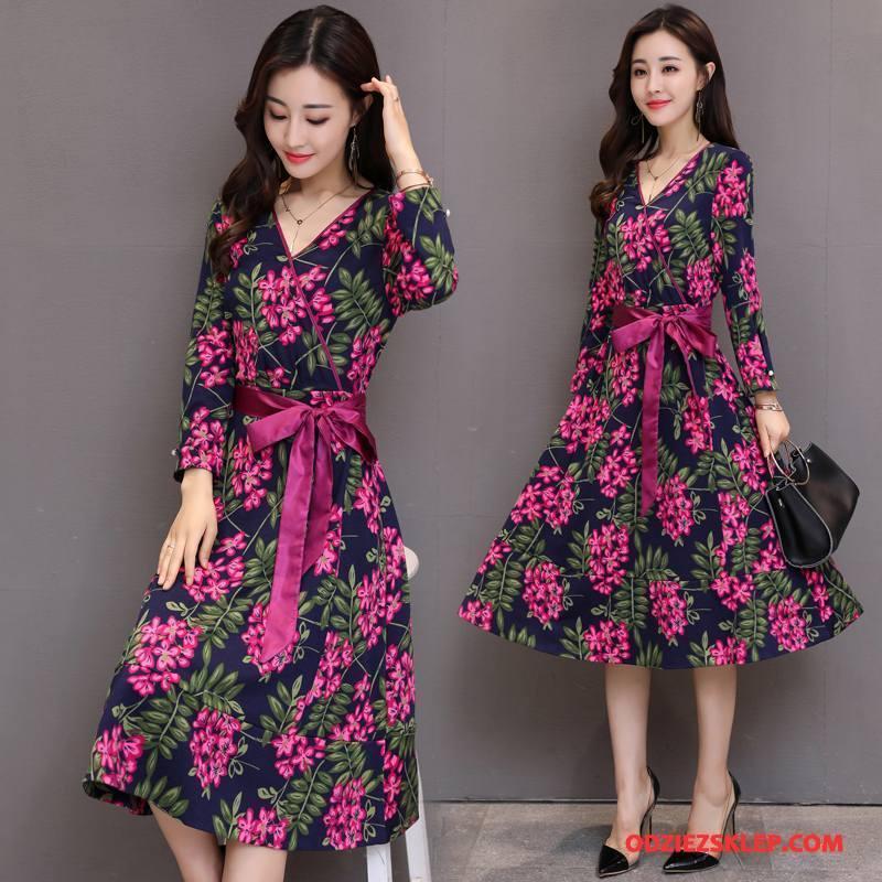 Damskie Sukienka Pullover Moda Drukowana Slim Fit Wiosna Długi Rękaw Róża Kup