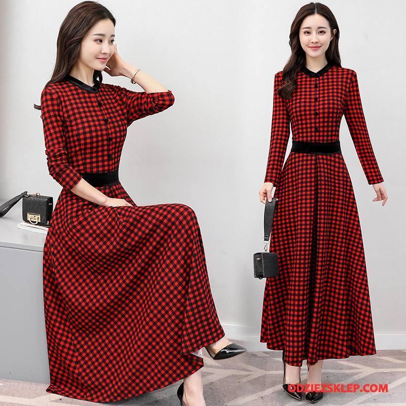 Damskie Sukienka Wysoki Stan 2018 Krata Długi Rękaw Guziki Wiosna Czerwony Na Sprzedaż