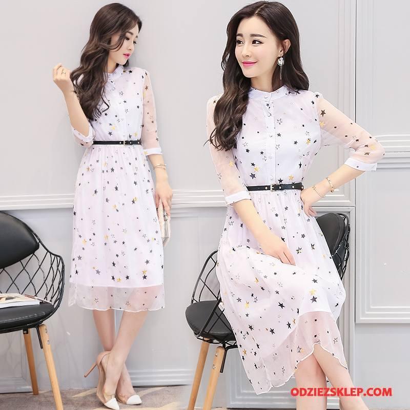 e5a3ffdd15 Damskie Sukienka Wysoki Stan Szyfon Moda Koronkowe Slim Fit Cienkie Biały  Tanie