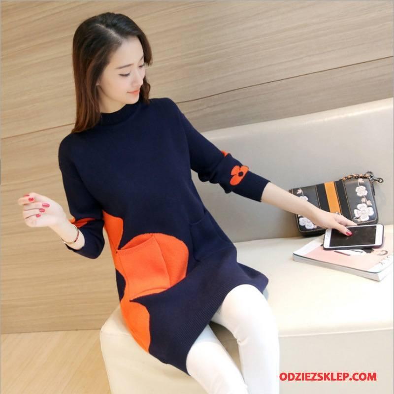 Damskie Swetry Tendencja Sweter Moda Eleganckie Kardigan Z Dzianiny Cienkie Granatowy Sklep