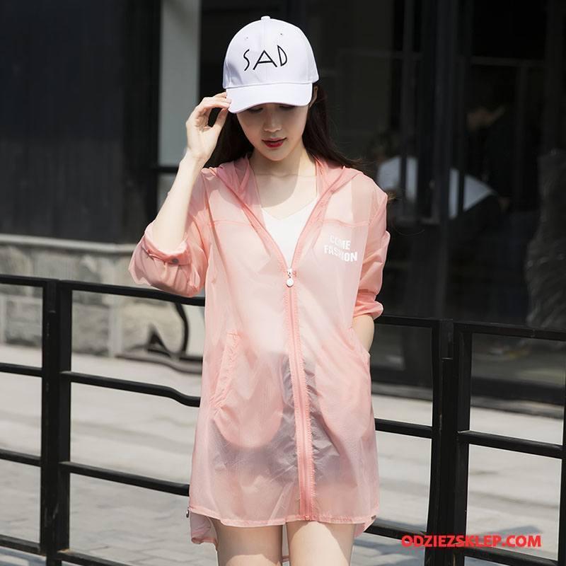 Damskie Ubrania Uv Cienkie Długi Rękaw Sun Odzież Ochrona 2018 Wiosna Wzór Różowy Fioletowy Tanie