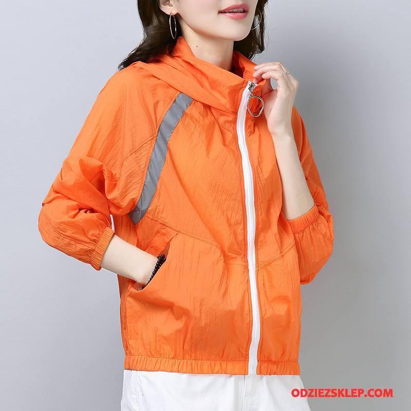 Damskie Ubrania Uv Cienkie Sun Odzież Ochrona 2018 Lato Eleganckie Moda Oranż Kup