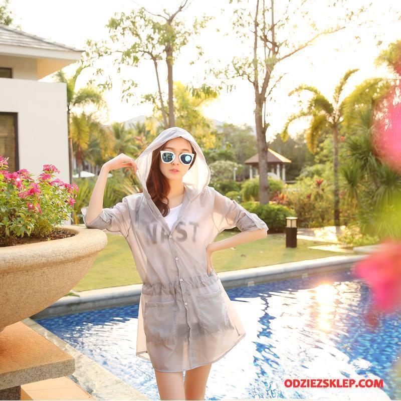 Damskie Ubrania Uv Eleganckie Moda Cienkie Długie Lato Sun Odzież Ochrona Czysta Szary Oferta