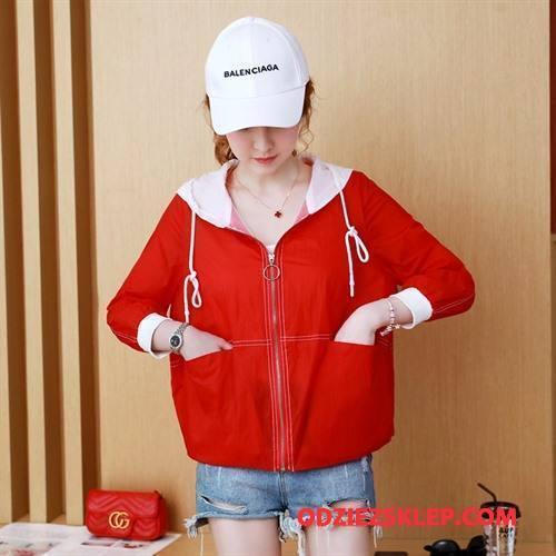 Damskie Ubrania Uv Moda Młodzieżowa Kieszenie Popularny Z Kapturem Miasto Czysta Czerwony Sprzedam