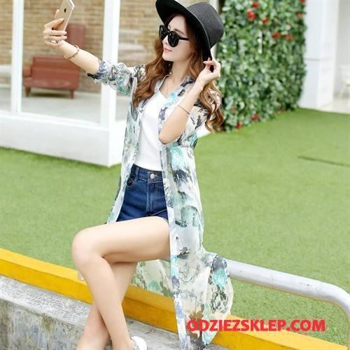 Damskie Ubrania Uv Moda Sun Odzież Ochrona Lato Długie Szerokie Cienkie Biały Sklep