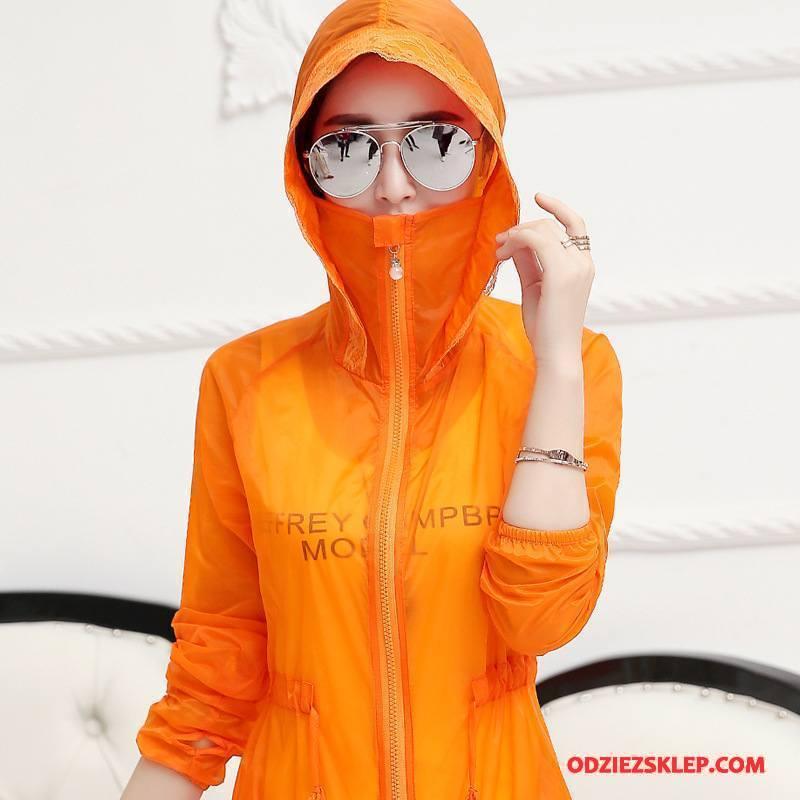 Damskie Ubrania Uv Projekt Szycie Slim Fit Sznurowane Lato Długie Oranż Czerwony Online
