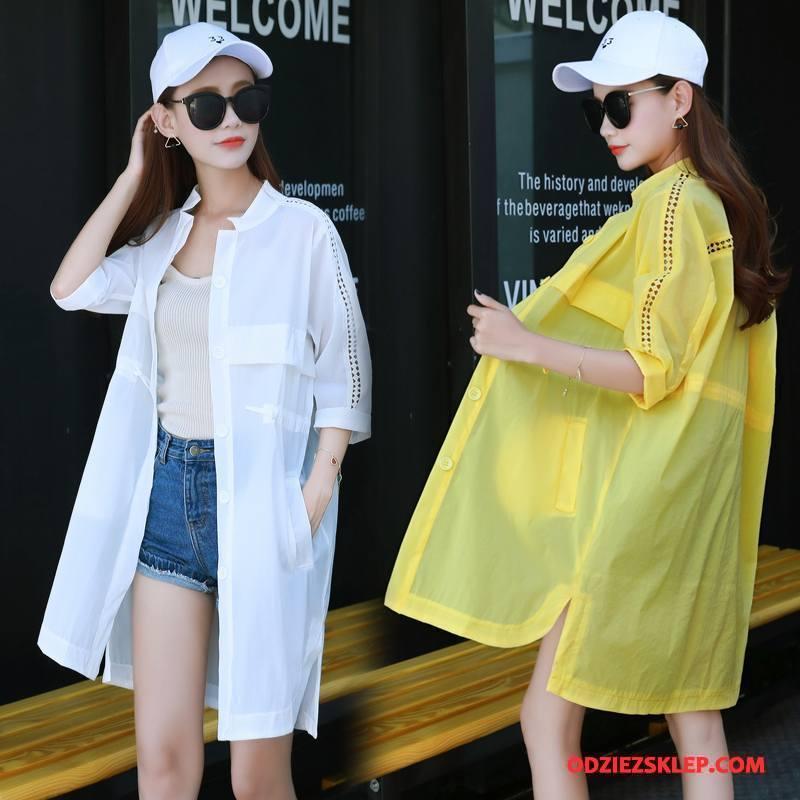 Damskie Ubrania Uv Rękawy Tendencja Długie Jesień Zamek Sun Odzież Ochrona Czysta Biały Kupię