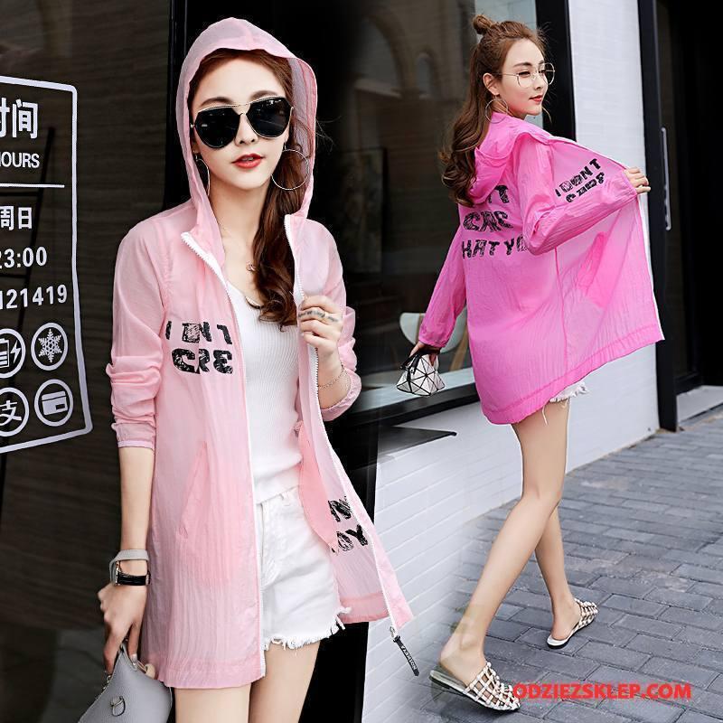 Damskie Ubrania Uv Swag Eleganckie Moda Z Kapturem Lato Sun Odzież Ochrona Różowy Tanie