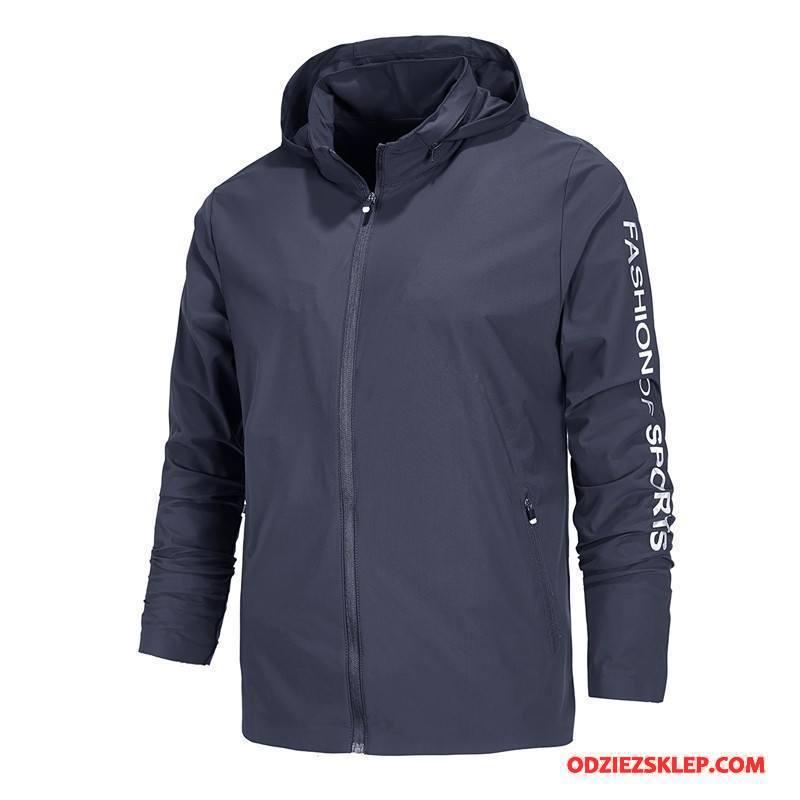 Męskie Bluza Z Kapturem Bluzy Z Kapturem Jesień Płaszcz Outdoor Męska Odzież Sportowa Ciemno Niebieski Sprzedam