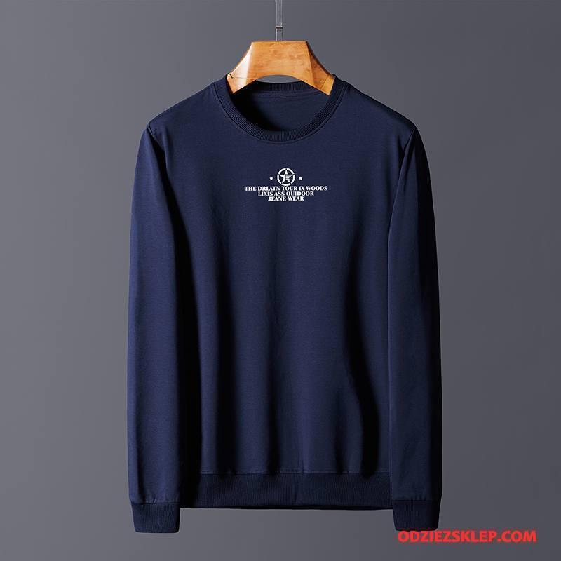 Męskie Bluza Z Kapturem Bluzy Z Kapturem Wysoka Jakość Swetry Bawełniane Duży Rozmiar Okrągły Dekolt Granatowy Sklep