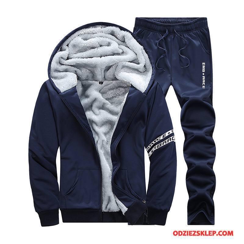 Męskie Bluza Z Kapturem Plus Kaszmir Pasować Bluzy Z Kapturem Zima Sweter Rozpinany Casual Ciemno Niebieski Sprzedam