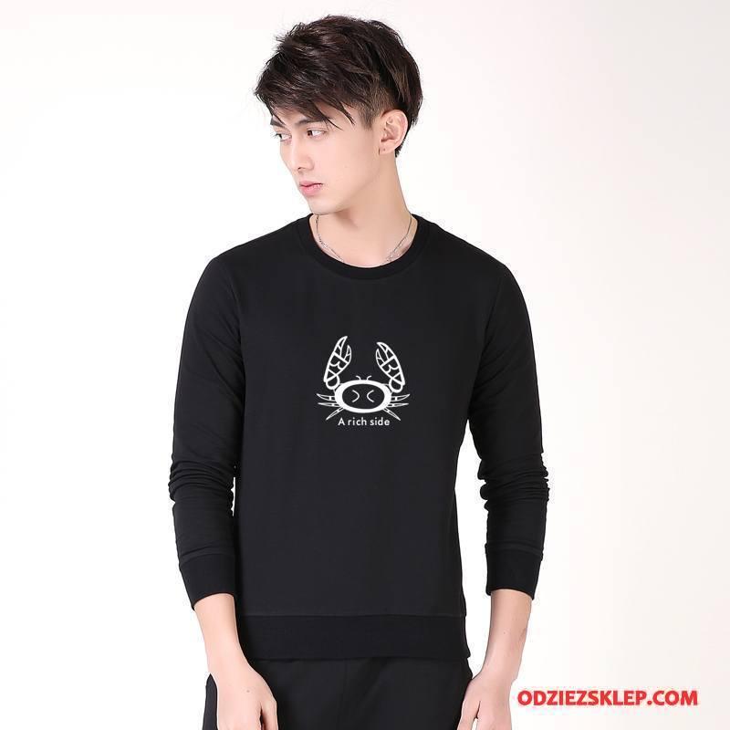 Męskie Bluza Z Kapturem Pullover Wiosna Moda Bluzy Z Kapturem Długi Rękaw Tendencja Czarny Tanie