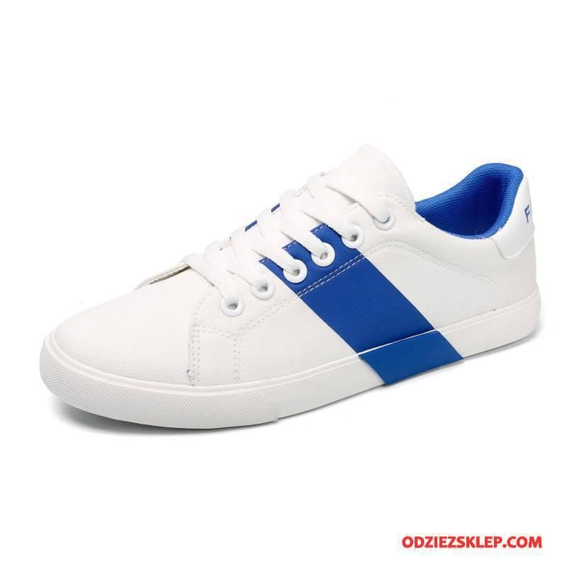 Męskie Buty Casualowe Młodzież Niskie Tendencja Lato Oddychające Buty Na Deskorolke Niebieski Biały Dyskont