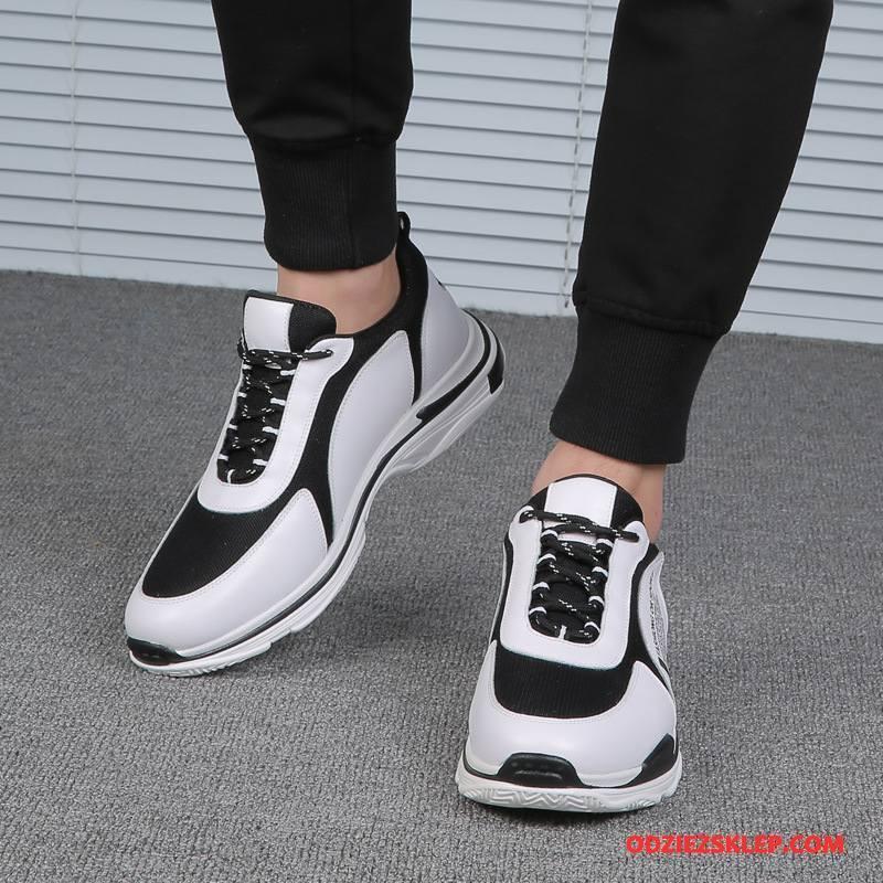 Męskie Buty Sportowe Marka Prawdziwa Skóra Buty Do Biegania Chłonny Trampki Okrągły Biały Tanie