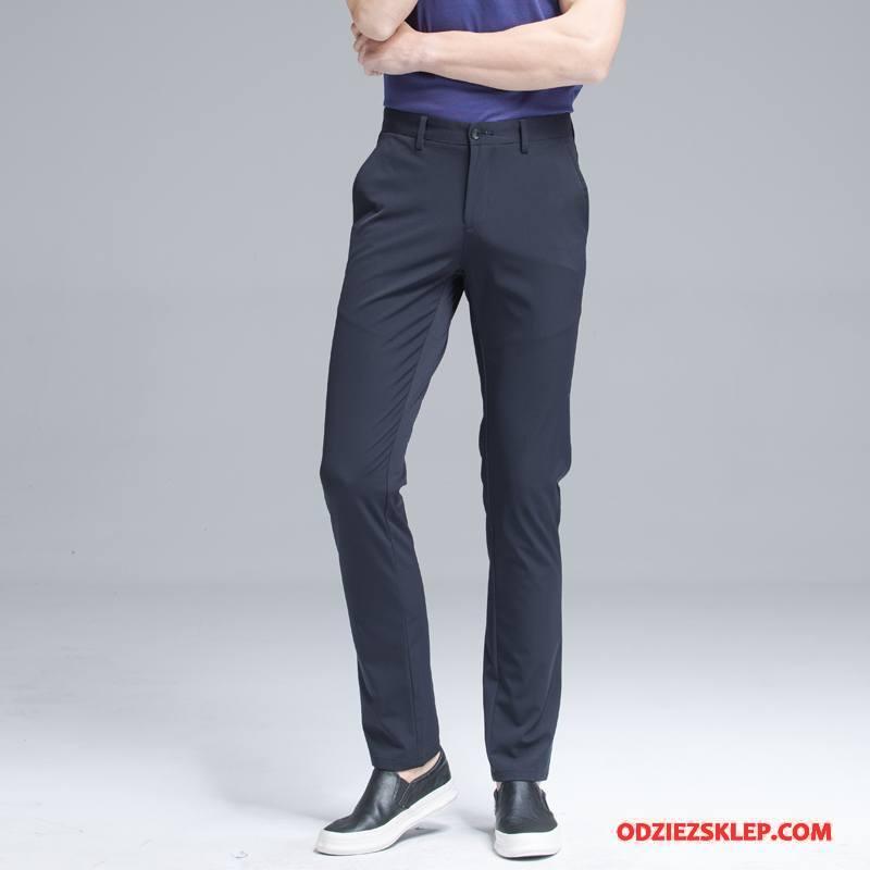 Męskie Casualowe Spodnie Cienkie Męska 2018 Zmarszczka Wygodne Moda Niebieski Online