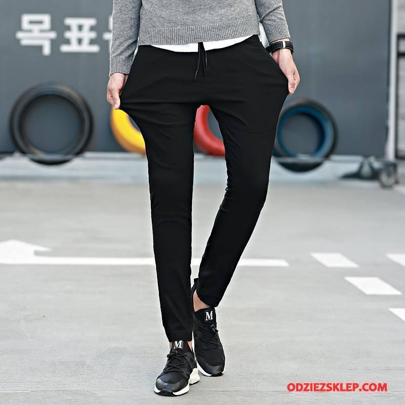 Męskie Casualowe Spodnie Długie Elastyczne Męska Slim Fit Szerokie Jesień Czarny Tanie