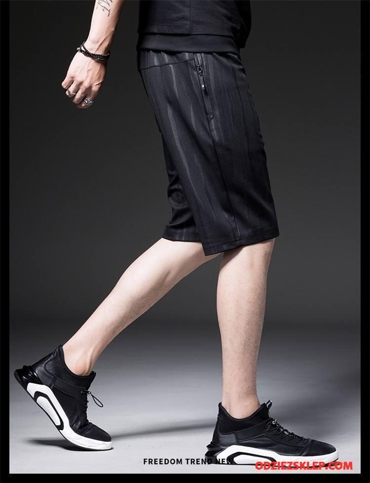 Męskie Casualowe Spodnie Elastyczne Sportowe Męska Oddychające Lato Szerokie Czarny Sklep