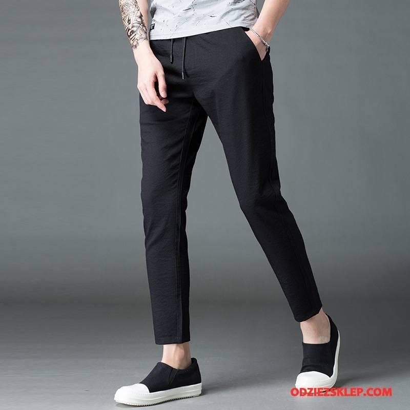 Męskie Casualowe Spodnie Elastyczne Szybkie Suszenie Mały Moda Harlan Męska Czarny Tanie
