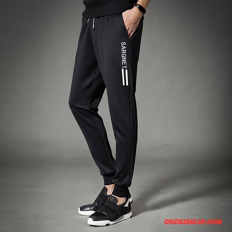 Męskie Casualowe Spodnie Jesień Oddychające Wiosna Szerokie Slim Fit Młodzież Czarny Sklep