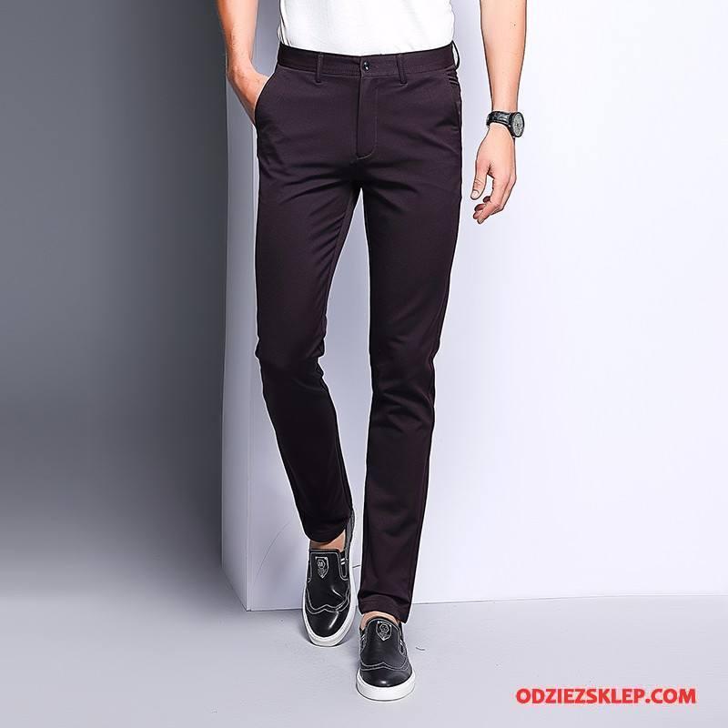 Męskie Casualowe Spodnie Lato Elastyczne Biznes Nowy Męska Młodzież Burgund Sprzedam