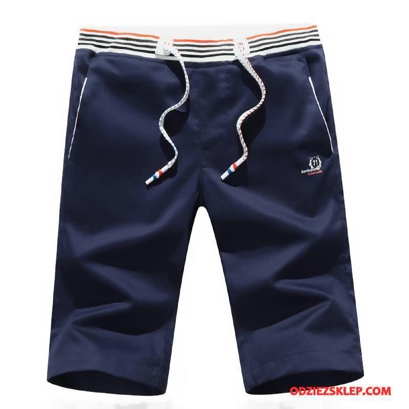 Męskie Casualowe Spodnie Męska Bawełna Plażowe Slim Fit Lato Cienkie Ciemno Niebieski Kupię