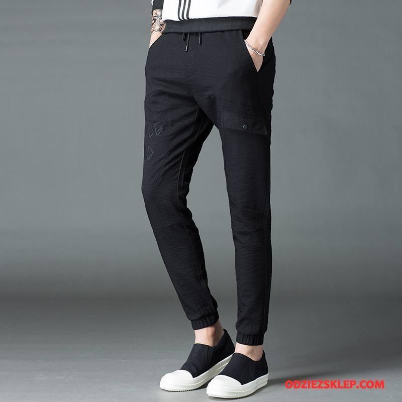 Męskie Casualowe Spodnie Męska Mały Slim Fit Jesień Elastyczne Pas Czarny Sklep