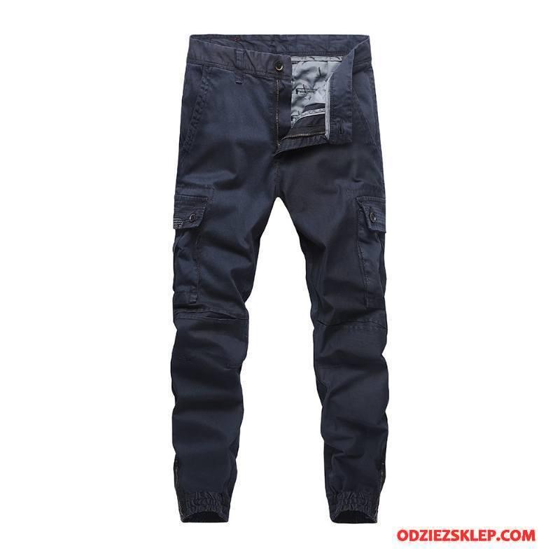 Męskie Casualowe Spodnie Męska Więcej Kieszeni Szerokie Tendencja Gorąco Spodnie Cargo Ciemno Niebieski Czysta Kupię
