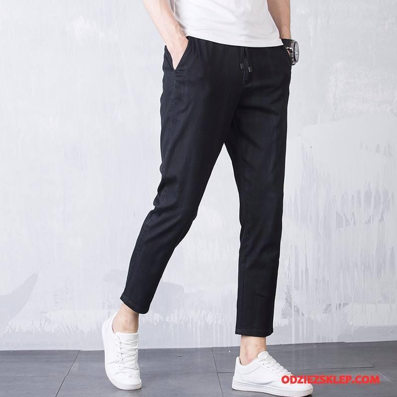 Męskie Casualowe Spodnie Młodzież Nowy Pas Cienka Moda Wysoki Koniec Czarny Sklep