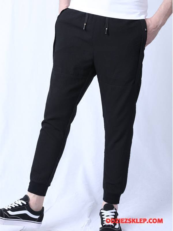 Męskie Casualowe Spodnie Mały Slim Fit Męska Lato Tendencja Czarny Sklep