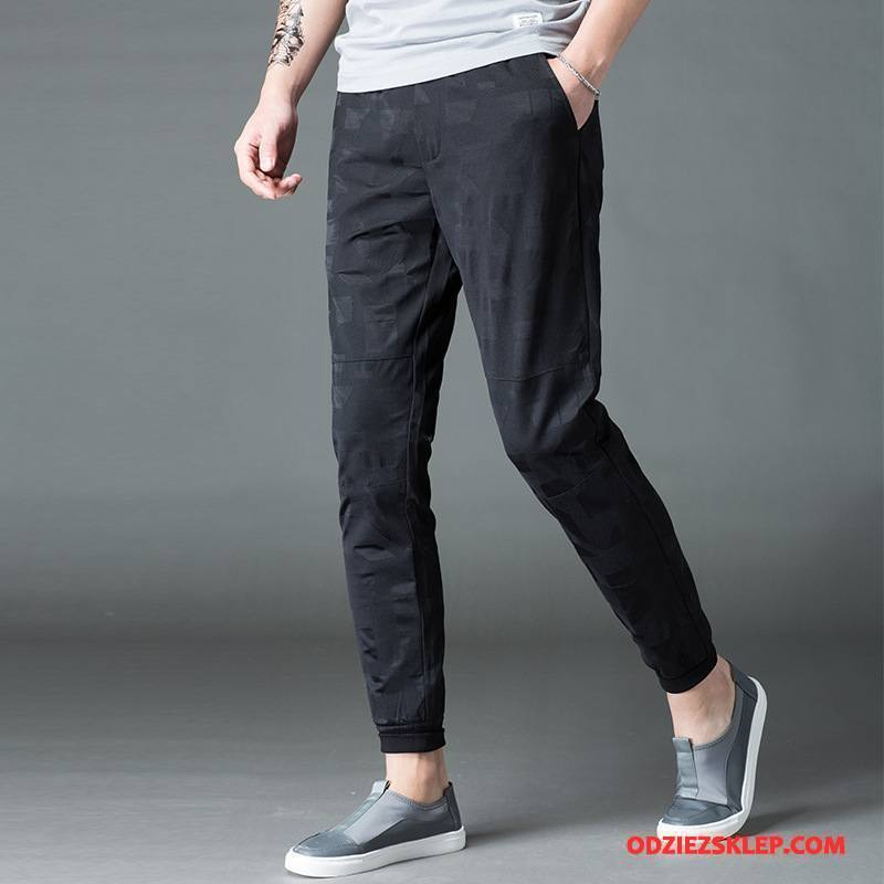 Męskie Casualowe Spodnie Mały Wiosna Slim Fit Cienkie Młodzież Lato Czarny Kupię