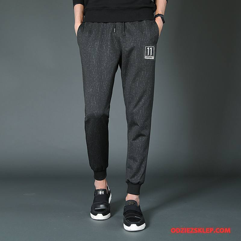 Męskie Casualowe Spodnie Moda Jedwab Tendencja Jesień Zima Spodnie Dresowe Czarny Kupię