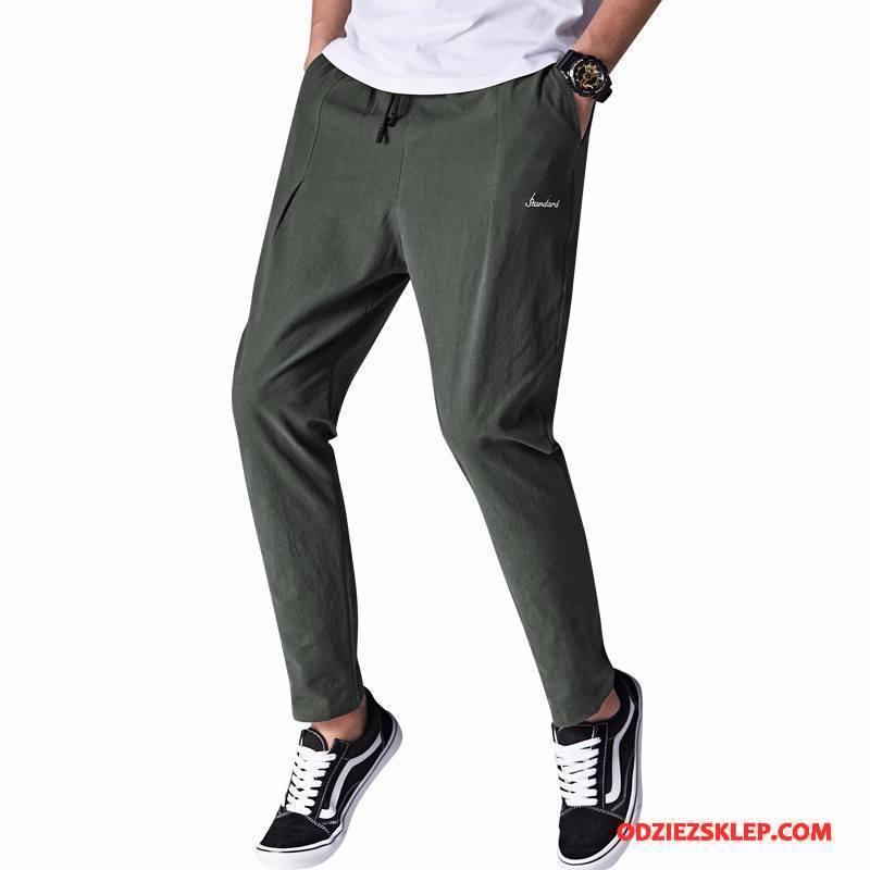 Męskie Casualowe Spodnie Nastolatek Tendencja Męska Ołówkowe Spodnie Student Lato Zielony Kup