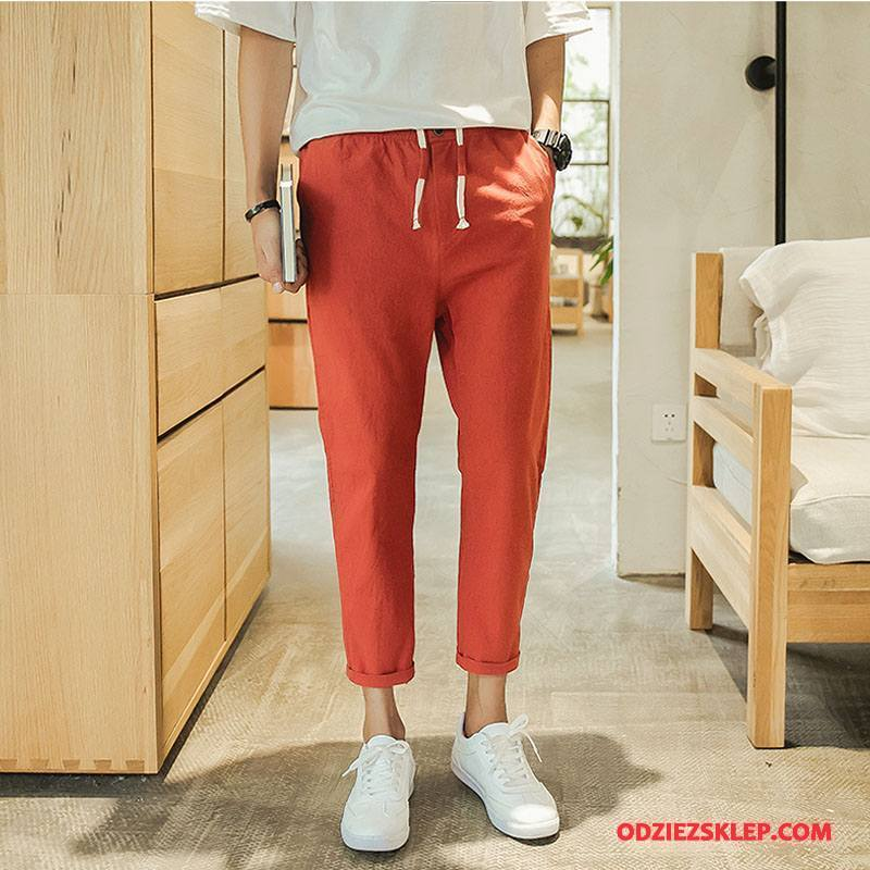 Męskie Casualowe Spodnie Slim Fit Lato Bawełniane Art Szybkie Suszenie Proste Szary Czerwony Sprzedam