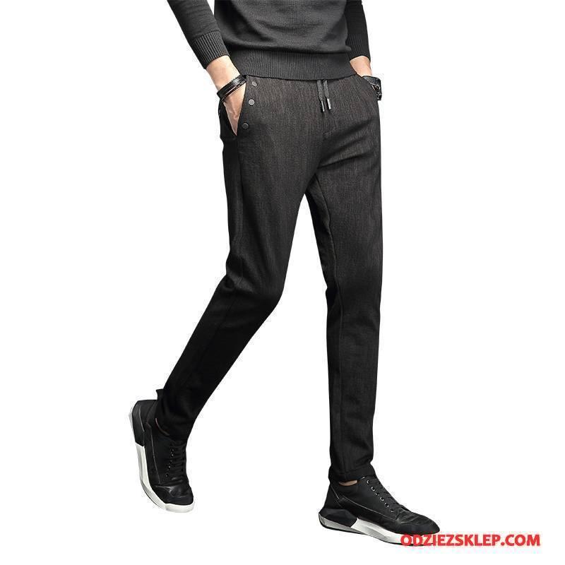 Męskie Casualowe Spodnie Slim Fit Wysoki Koniec Dla Grubych Męska Tendencja Spodnie Dresowe Czarny Tanie