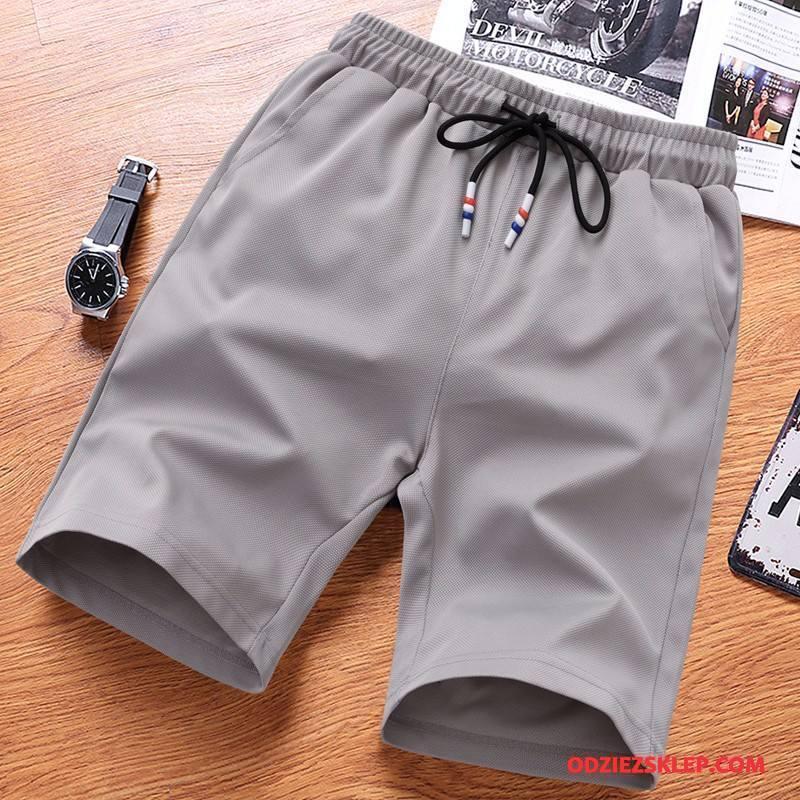 Męskie Casualowe Spodnie Sportowe Męska Moda Oddychające Szorty Lato Czysta Szary Online