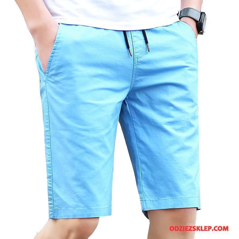 Męskie Casualowe Spodnie Szorty Lato Moda Slim Fit Tendencja Nowy Lazurowy Kup