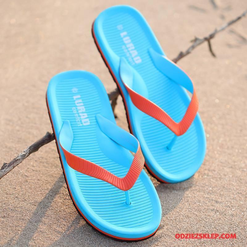 Męskie Japonki Kapcie Tendencja Plażowe Lato Miękki Męska Niebieski Sprzedam