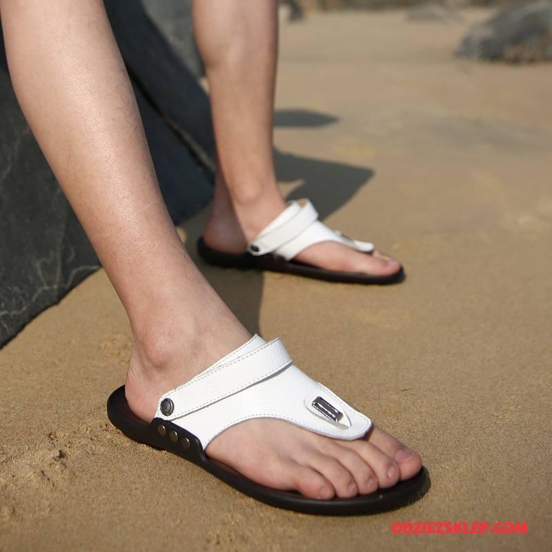 Męskie Japonki Lato Plażowe Casual Buty Prawdziwa Skóra Osobowość Biały Online