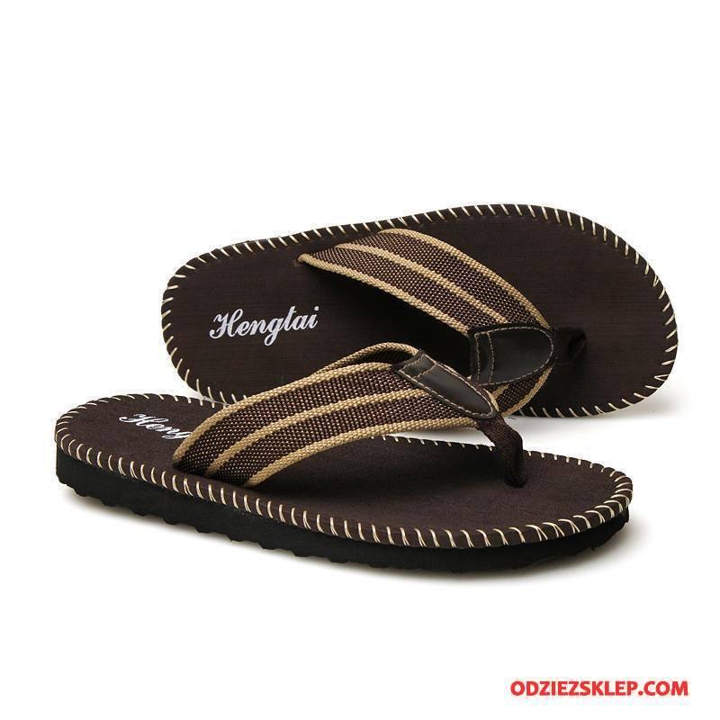 Męskie Japonki Plażowe Casual Moda Męska Płaskie Buty Brązowy Ciemno Sprzedam