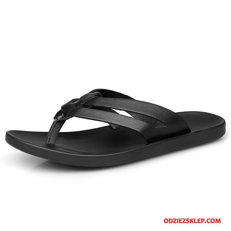 Męskie Japonki Sandały Plażowe Casual Wygodne Lato Antypoślizgowe Czarny Sklep