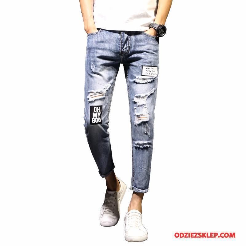 Męskie Jeansy 2018 Z Dziurami Slim Fit Ołówkowe Spodnie Męska Dżinsy Granatowy Beżowy Sprzedam