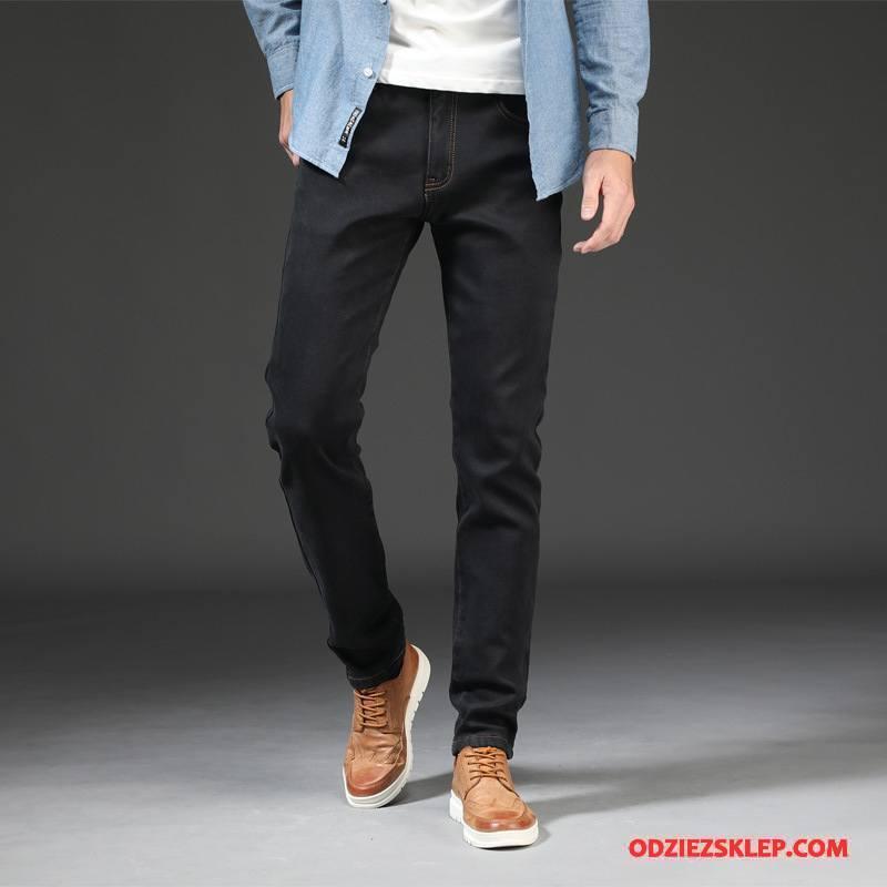 Męskie Jeansy Duży Rozmiar Zima Spodnie Elastyczne Dżinsy Duże Wysoki Stan Czarny Sprzedam