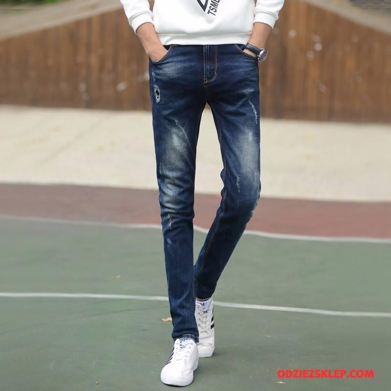 Męskie Jeansy Mały Tendencja Młodzieżowa Moda Spodnie 2018 Niebieski Sklep