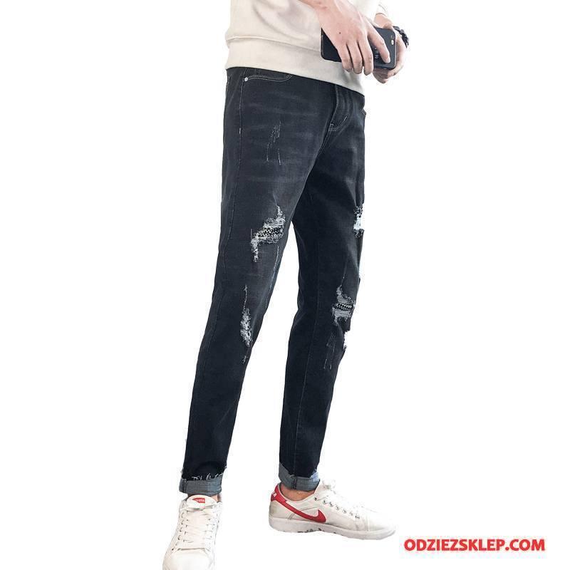 Męskie Jeansy Ołówkowe Spodnie Nowy Zima Jesień Elastyczne Denim Czarny Sprzedam