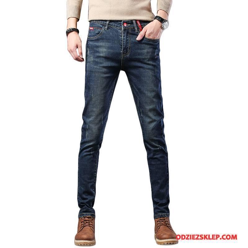 Męskie Jeansy Spodnie Denim Tendencja Moda Dżinsy Nowy Niebieski Sprzedam