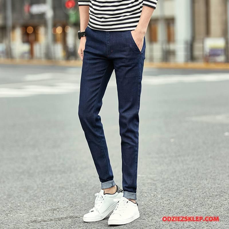 Męskie Jeansy Tendencja Mały Dżinsy Męska Spodnie Slim Fit Niebieski Sklep