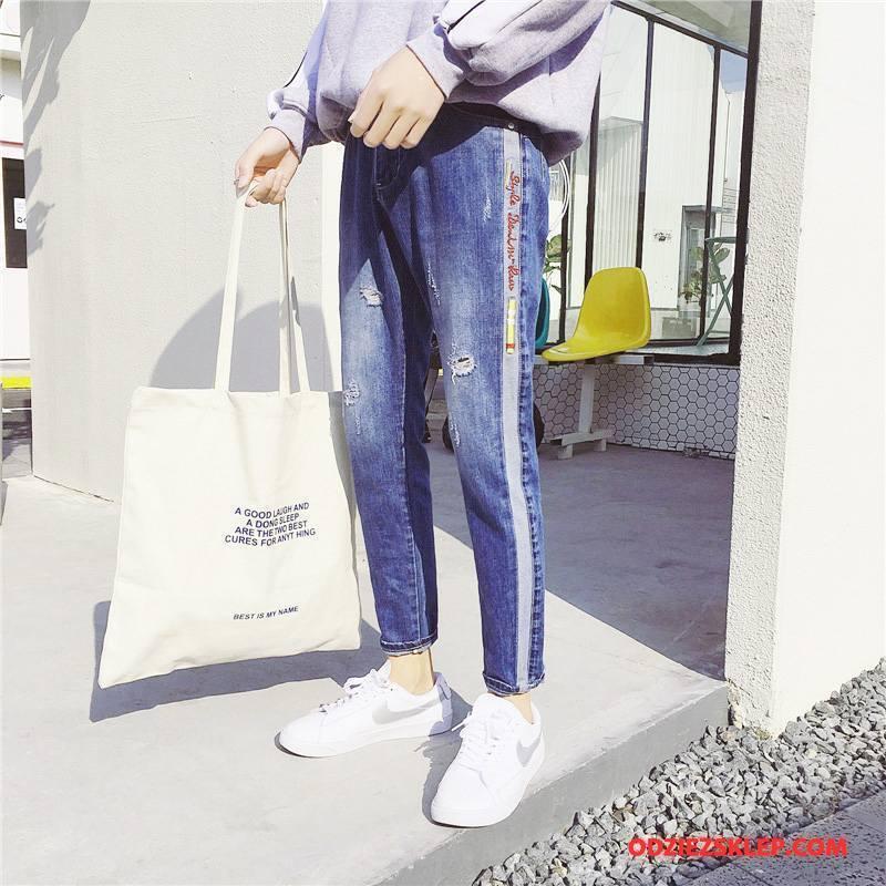 Męskie Jeansy Tendencja Spodnie Slim Fit Wiosna Męska Nowy Niebieski Sklep